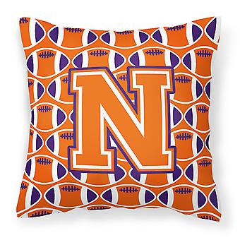 Letter N Football Orange, White and Regalia Fabric Decorative Pillow