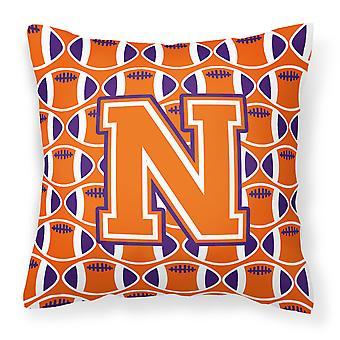Lettera N calcio arancione, bianco e Regalia tessuto cuscino decorativo