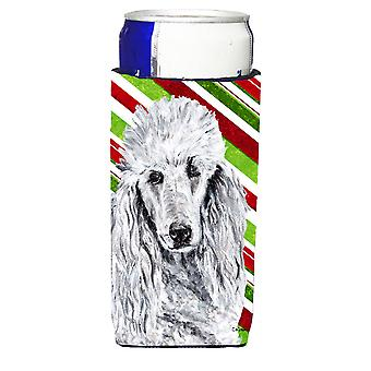 White Standard Poodle Candy Cane Christmas Ultra Beverage Insulators for slim ca