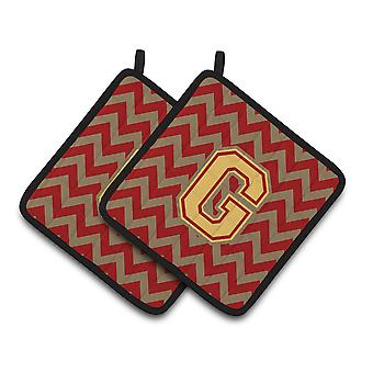 Letter G Chevron Garnet and Gold  Pair of Pot Holders