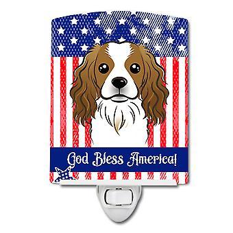 American Flag and Cavalier Spaniel Ceramic Night Light