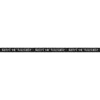 Unika partiet glad 50th Birthday Black & Silver folie Banner (12 fot)