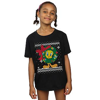 Looney Tunes Girls Tweety Pie Christmas Fair Isle T-Shirt