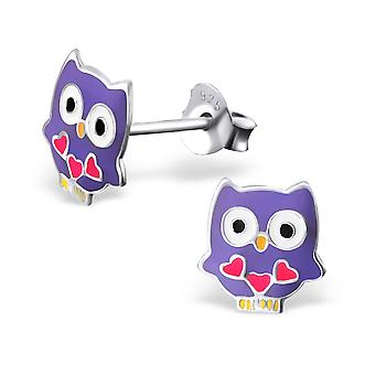 Owl - 925 Sterling Silver + Epoxy Colour Colourful Ear Studs