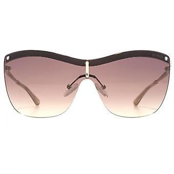 Guess Rimless Visor Sunglasses In Gold Brown Gradient