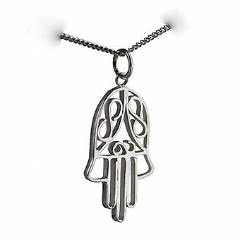 Silver 29x18mm Hand of Fatima Pendant with a curb Chain 24 inches