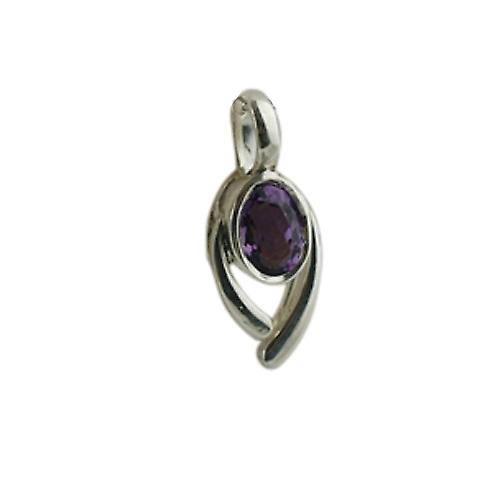 Silver 14x9mm Pendant set with 7x5mm Amethyst