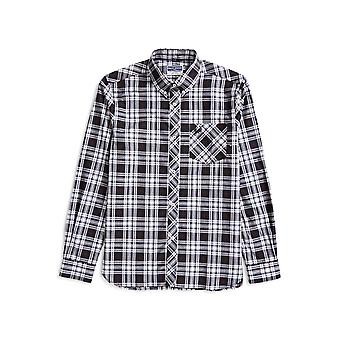 Fred Perry Long Sleeve Tartan Shirt Black