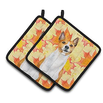 Carolines Treasures  BB9953PTHD Basenji Fall Pair of Pot Holders