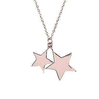 Latelita 925 Sterling Silver Pendant Double Star Stars Necklace Rose Gold