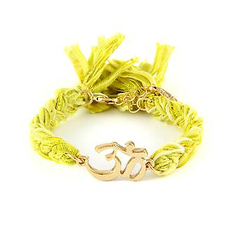 Ettika - Om in Yellow Gold Bracelet and cotton ribbons braided yellow