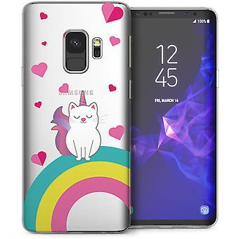 Samsung Galaxy S9 Rainbow kat TPU Gel Case - wit