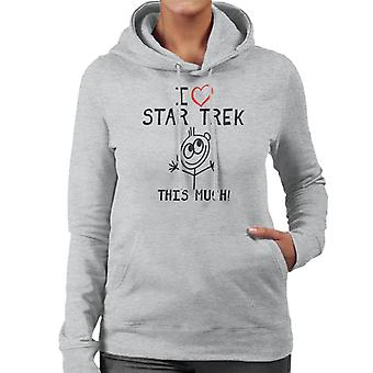 I Heart Star Trek This Much Women's Hooded Sweatshirt