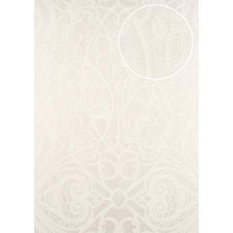 Baroque wallpaper ATLAS CLA-597-1 non-woven wallpaper marked with graphic pattern glossy cream white 5.33 m2 perl white