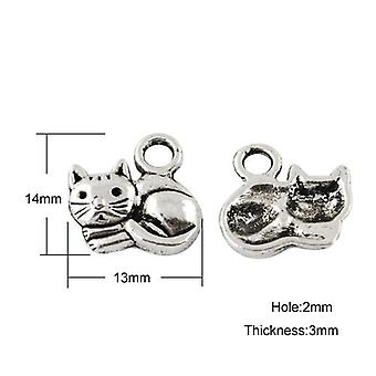 Packet 10 x Antique Silver Tibetan 15mm Cat Charm/Pendant ZX01845