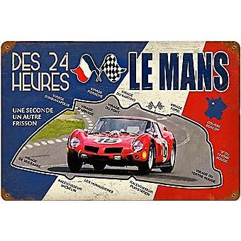 Le Mans Des 24 Heures verroeste metalen teken (Pst 460 X 300 Mm Ls)