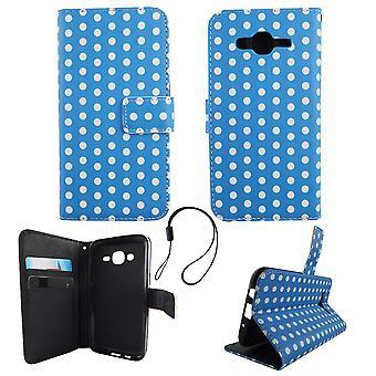 Handyhülle Tasche für Handy Samsung Galaxy J5 2015 Polka Dot Blau Weiss