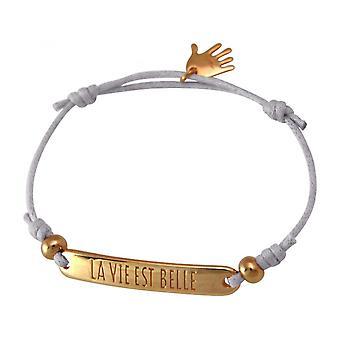 Damen - Armband - Gravur - LA VIE EST BELLE - Rose Vergoldet - Hellgrau