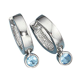 Hoop earrings earrings blue crystals JEREMY 925 Sterling Silver earrings