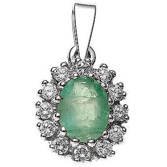 Encanto colgante rodio 925 1 esmeralda plata de ley con Circonita