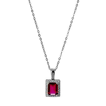 Orphelia 925 Silver Pendant with Chain 42 CM Rectangle with Ruby and Zirconium
