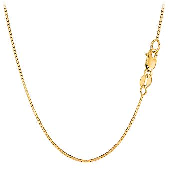 10k Yellow Solid Gold Mirror Box Chain Necklace, 1.0mm