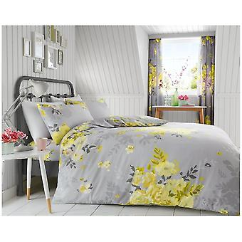 Alice Yellow Flowers 4 bit duntäcke Quilt Cover Polycotton Bedding Set örngott