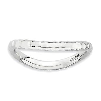 2.25mm Sterling Silver Rhodium-plated Stackable Expressions Polished Rhodium-plate Wave Ring - Ring Size: 5 to 10