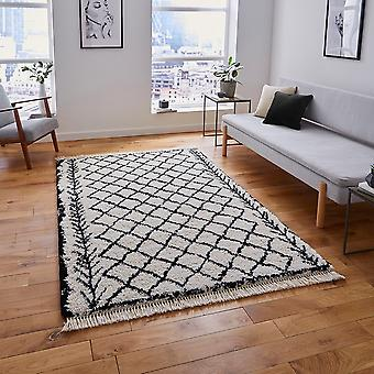 Boho 7043 White Black  Rectangle Rugs Plain/Nearly Plain Rugs