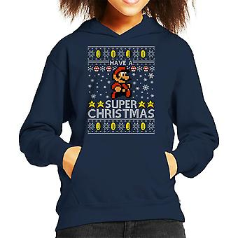 Super Christmas Mario Knit Pattern Kid's Hooded Sweatshirt