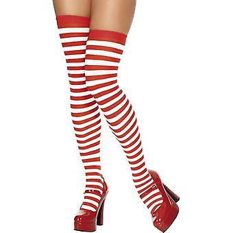 Thigh High Stockings Red and White, One Size