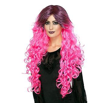 شعر مستعار بريق القوطية، الوردي النيون، مع جذور الظلام