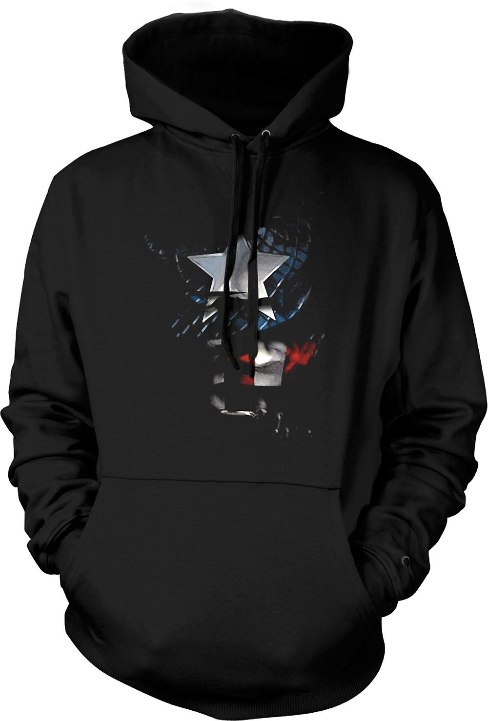 Enfant Sweat Capuche - Captain America - Ripped Effet