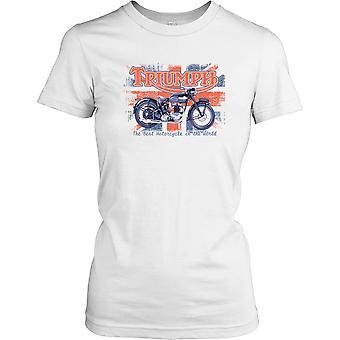 Triumph - Best Motorcycle In The World - British Flag Ladies T Shirt