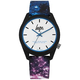 Hype | Blue And Purple Galaxy Print Silicone | White Dial | HYU009BV Watch