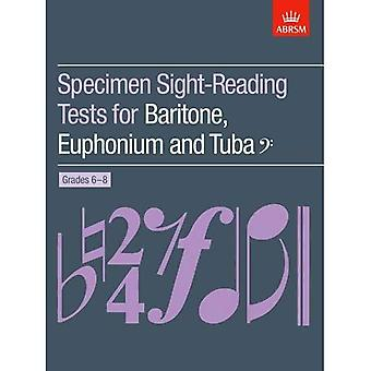 Exemplaret Sight-Reading tester för baryton, eufonium och Tuba (basklav), årskurs 6-8 (ABRSM Sight-reading)