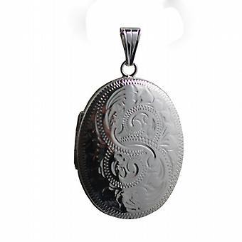 Sølv 35x26mm oval hånd gravert medaljong