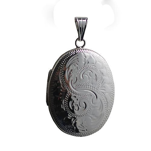 Silver 35x26mm oval Hand engraved Locket