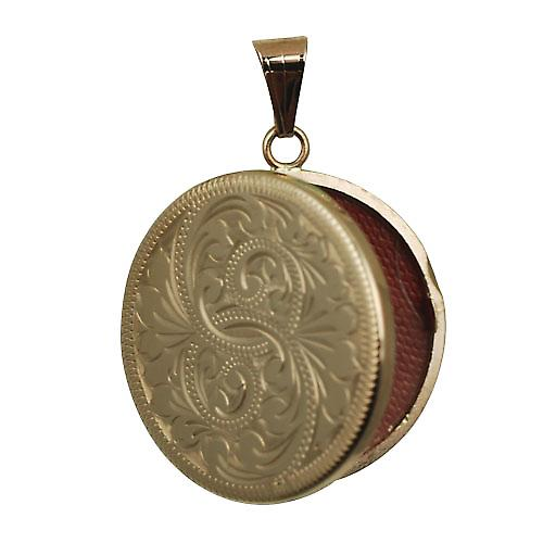 9ct Rose Gold 29mm engraved flat round Locket