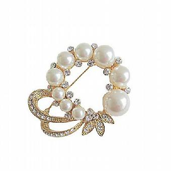 Elegant Formal Dress Gold Plated Brooch with Pearls & CZ