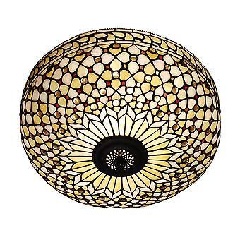 Mille Feux estilo Tiffany grande dos luz rasante luminaria de techo - interiores 64276 1900