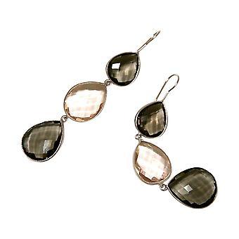 Gemshine oorbellen Rookkwarts en Rozenkwarts druppels. 925 zilver of verguld