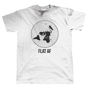 Flache AF, Herren-T-Shirt | Flat Earth Society lustige Theorie NASA dunkler Energie Runde Earther Globus Universal Disc Bedford Ebene Experiment Whirlpool Gläubigen hinter der Kurve-TV-Show | Verschenken Sie ihn Papa