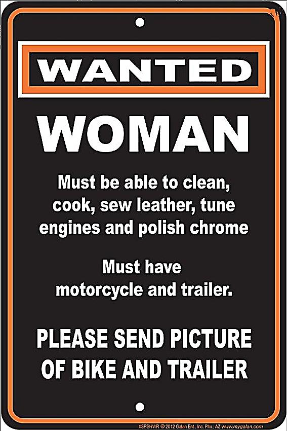 Wanted: Woman funny aluminium sign  (ga)