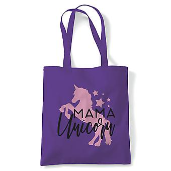 Mama Unicorn, Magical Fantasy Tote Bag | Reusable Shopping Cotton Canvas Bag Long Handled Natural Shopper Eco-Friendly Fashion | Gym Book Bag Birthday Present Gift Her | Multiple Colours Available