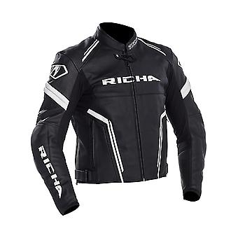 Richa Black-White Monza Motorcycle Leather Jacket