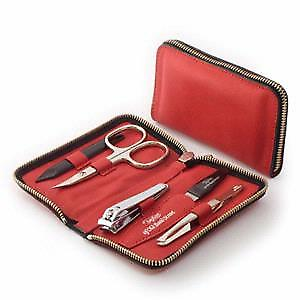 Taylor of Old Bond Street Leather Manicure Set in Red