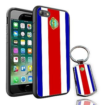 For Apple iPhone 8 - Costa Rica Flag Design Printed Black Case Skin Cover + Free Metal Keyring - 0041 by i-Tronixs