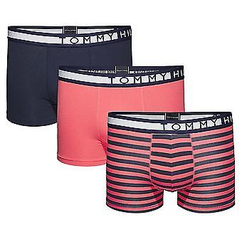 Tommy Hilfiger Stretch Cotton Stripe 3-Pack Trunk, Navy / Rose / Rose Stripe, Large