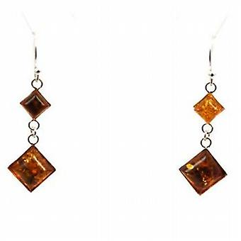 Toc Sterling Silver Amber Diamond Shaped Drop Earrings